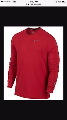 5153c248 Nike Crew Tee Dri Fit Contour S Small Red Running Shirt 849954 657 Long  Sleeve