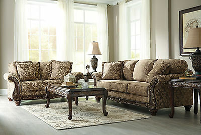 CORELIA TRADITIONAL LIVING Room Couch Set Wood Trim Brown ...