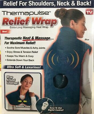 Thermapulse Relief Extra-Long Massaging Heat Wrap Blue As Seen On Tv Rc 6034