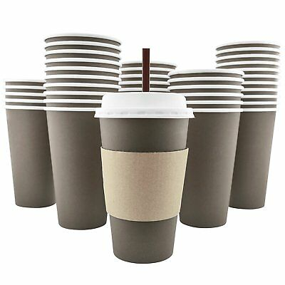 100 Pack 16 Oz Disposable Hot Paper Coffee Cups Lids Sleeves Stirring Straws Set