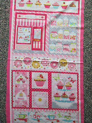 Baked Good Cupcakes Coffee Tea Donuts Cakes Pinks 9 Block Cotton Fabric Panel