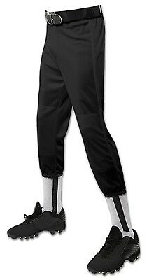(Small, Black) - Champro Performance Pull-up Baseball Pant With Belt Loops Youth