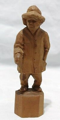 Vintage Quebec Folk Art Wood Carving By Raymond Bourgault - Scowling Man