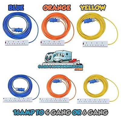 All Lengths Caravan 4 Gang 6 Gang Extension Leads Mains Hook Up Tents Camping