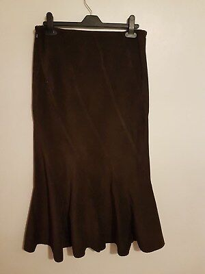 Ref 317 - MARKS & SPENCERS - Ladies Womens Girls Brown Cotton Skirt Size 10
