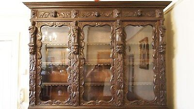 Antique Victorian Heavily Carved Oak Country Bookcase