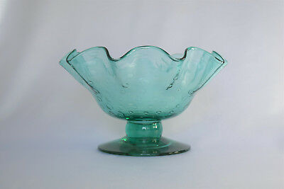 "Vintage Bischoff Art Glass Blue Green 6"" Footed Crimped Controlled Bubble Bowl"