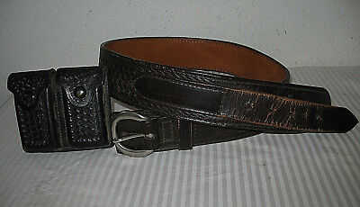 Triple K Duty Belt 38 Leather Brown Basketweave w SD Myres Magazine Case Black