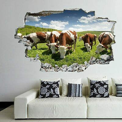 Domestic Farm Animals Cows Cattle Wall Stickers Art 3D Effect Decals Murals RC2