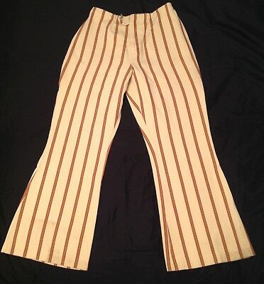 Vintage Pants Womens 28 28 60s Striped Flare Bell Thick Cotton Hippy Mod Indie