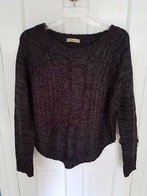 URBAN DAY Black Gray Cable Knit Hi/Lo Side Front Boat Neck LS Sweater Sz M/L EUC