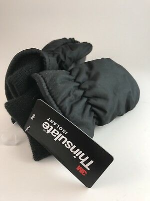 3M Thinsulate Insulation Toddler Black Winter Ski Mittens Waterproof 2T 3T 4T