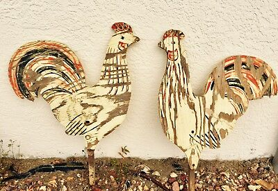Primitive Folk Art Painted Wood Roosters--Unique Vintage Yard Art--Shipped Free!