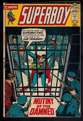 """SUPERBOY #186 FN """"MUTINY OF THE DAMNED""""  (DC Comics 1972)"""