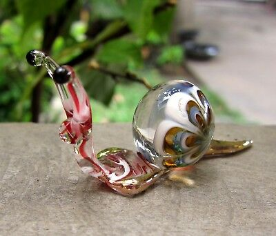 Maroon Blue SNAIL Figurine handmade blown ART GLASS miniature - GIFT - CUTE