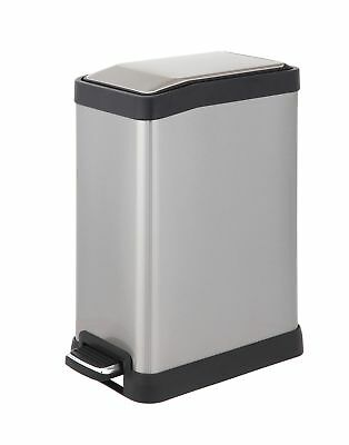 Rectangular Step Trash Can 8-Liter Stainless Steel for Bathroom Office Home Zone