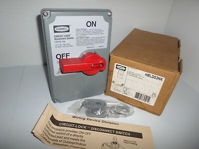 *NEW IN BOX* HUBBELL HBLDS3NK CIRCUIT LOCK 30-Amp DISCONNECT SWITCH  600Vac 30A