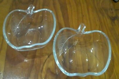 2x Apple Shaped Clear Glass Bowl (MF)