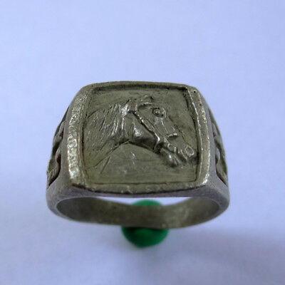 Greek Ancient Artifact Silver Ring With Horse And Two Horseshoe