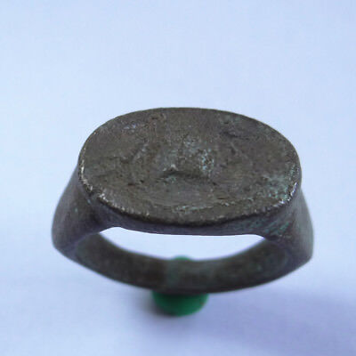 Greek Ancient Artifact Bronze Ring With Mithological Two Horses
