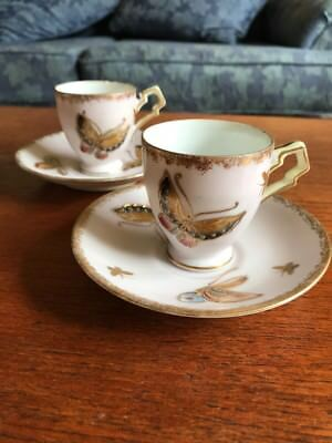 Demitasse Cups And Saucers Hand Painted Butterflies