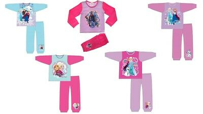 Girls Kids Frozen Anna Elsa Pyjamas Nightwear PJs Cotton Long Sleeve