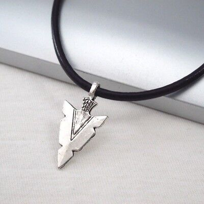 Silver Alloy Native American Spear Arrow Head Pendant 3mm Black Leather Necklace