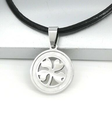 Silver Round Celtic Four Leaf Clover Pearl Pendant Womens Black Leather Necklace