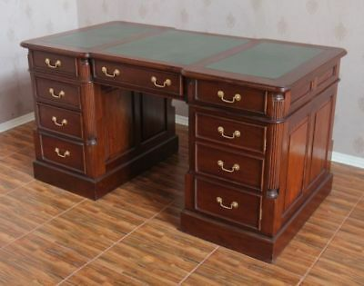 Solid Mahogany Twin Pedestal Writing Desk Wooden Office Desk H80 x D75 x W150cm