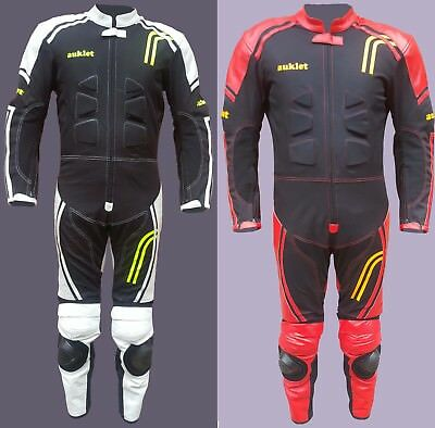 Kids Childrens Motorcycle Mini Moto One Piece Leather + Textile Race Track Suit