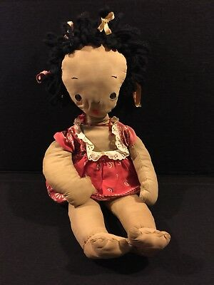 *ANTIQUE BLACK AMERICANA CLOTH DOLL girl With necklace circa late 1800 s