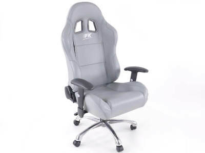 Computer Office Chair PC PS4 PS3 Bucket Seat Grey Faux Leather Home Work Gaming