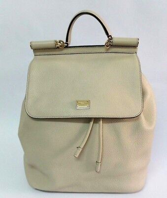 AUTHENTIC DOLCE   GABBANA Sicily Beige Leather Backpack Bag ... 21c93ac15c2e8