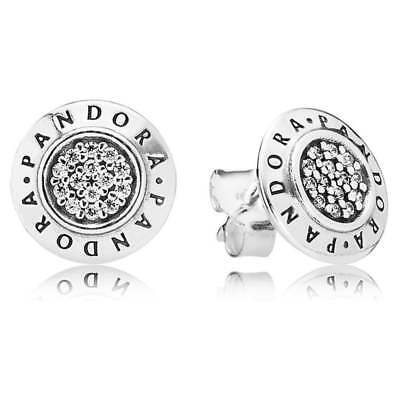 Genuine PANDORA Sterling Silver Earrings S925 ALE SIGNATURE STUD 290559CZ