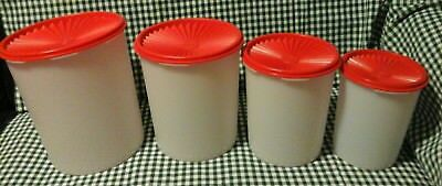 New Tupperware 4 Piece One Touch Servalier Canister Set Red Seals Containers Lid