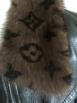 Louis Vuitton Leather SILK Jacket Fur Mink Rare brown LIMITED PRE OWNED Lamb