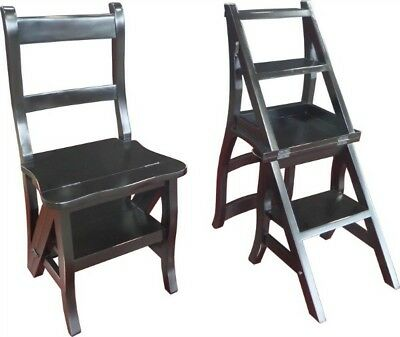 Antique Style Solid Mahogany Bedroom Metamorphic Step Chair H89 W43D41cm BLACK