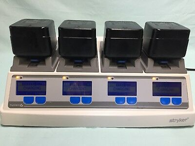 Stryker 6110-120 System 6 battery Charger with 4 6215 Battery packs