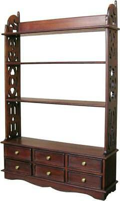 Carved Solid Mahogany Book Rack Wall Shelf With 6 Drawers H112 x W78 x D19cm