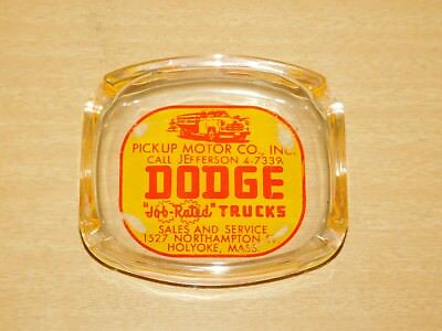 Vtg Dodge Job Work Pickup Truck Dealer Promo Cigarette Ash Tray Ad Massachusetts