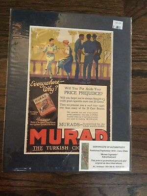 September 1916 Murad Cigarettes Color Advertisement, Antique,  Acid-Free Matting