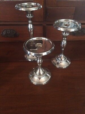 Pottery Barn silver plated candle holders Candlesticks pillar or taper Set of 3 & POTTERY BARN SILVER plated candle holders Candlesticks pillar or ...