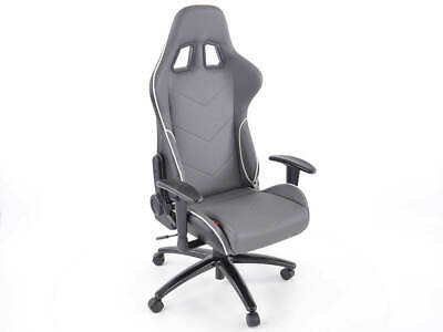 Leatherette Grey Office Chair Sports Bucket Seat Style Garage Home Workshop Man