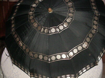 Vintage Black n Tan Dots Umbrella with Clear Lucite Handle Button Closure