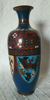 Antique Meiji Japanese Cloisonne Vase Decorated With Shields With Dragons