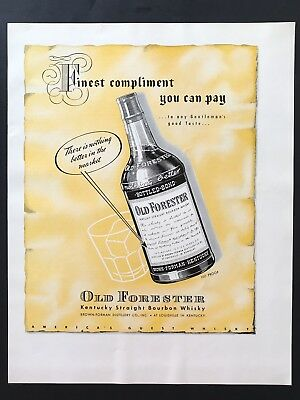 1941 Vintage Print Ad 40's OLD FORESTER Bottle Illustration Art Yellow Bourbon
