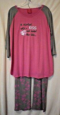 "Chili Peppers Maternity 3-pc ""It Started With a Kiss"" Sleep Set. Size: XX-Large"