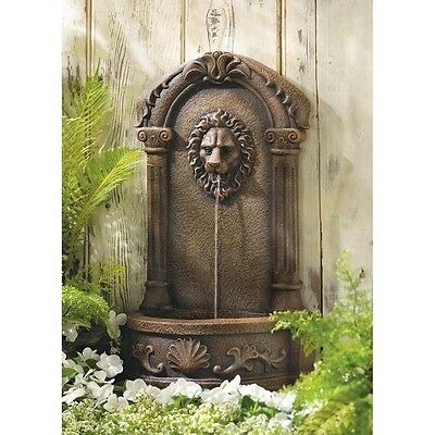 Lion's Head Outdoor Water Fountain, Wall Fountain, Garden & Home Decor