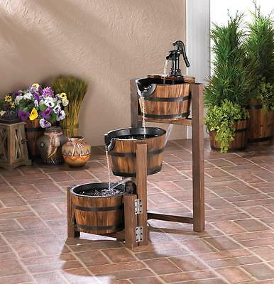 Beautiful Outdoor Water Fountain, Apple Barrel Cascading Fountain, Garden Decor