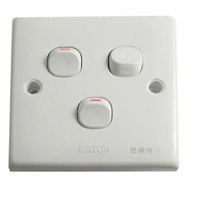 AC 250V 10A Home Light Lamp 3 Three Gang 3 Way Switch Wall Plate